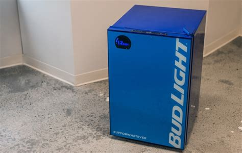 bud light e fridge running out of beer smart bud e fridge will send an alert