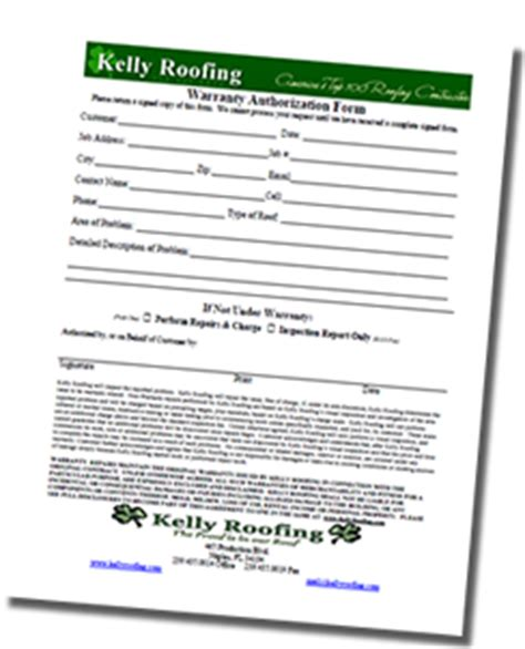 Warranty Form Roof Repair Warranty Template