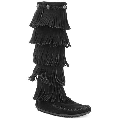 minnetonka five layer fringe boots in black lyst