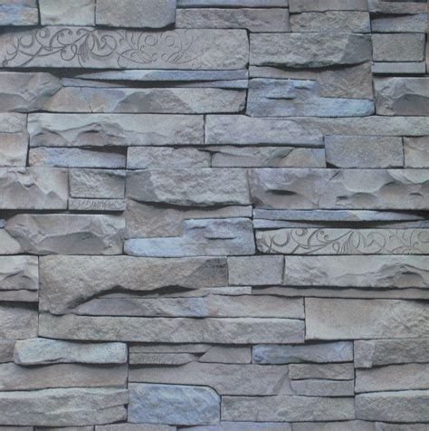 Wall 3d Brick Br1317 Blue modern design retro 3d effect grey brick wallpaper