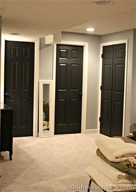 Best Black Paint Color For Interior Doors Black Interior Doors White Trim Through Out House Grey Walls White Trim Bathroom Home