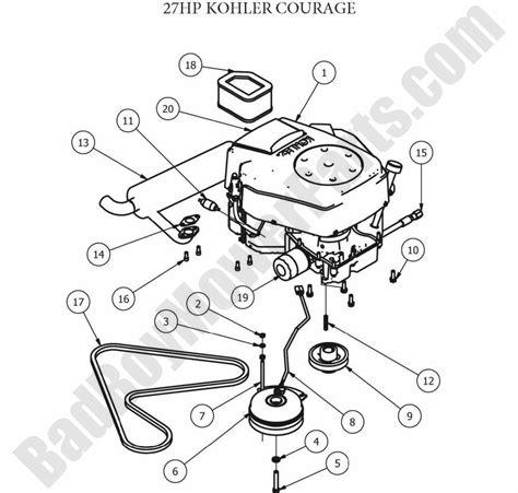 kohler engine parts diagram bad boy parts lookup 2012 zt engine 27hp kohler