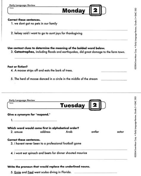 Daily Language Review Grade 5 Worksheets by Daily Language Review Grade 5