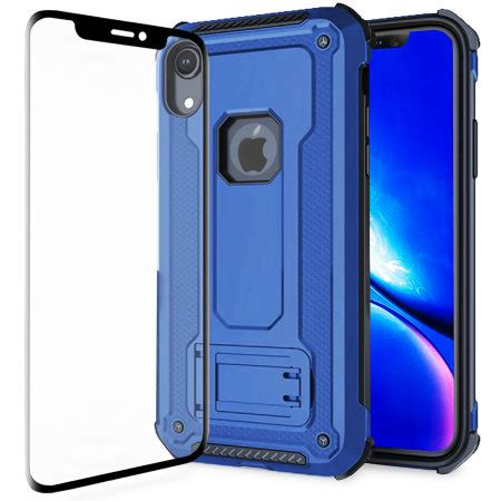 olixar manta iphone xr tough case  tempered glass blue