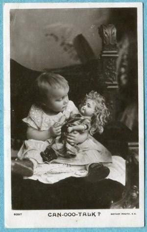 child girl with her celluloid doll bärbel, original old