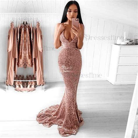 Sequined Prom Dress mermaid spaghetti straps backless sweep pink