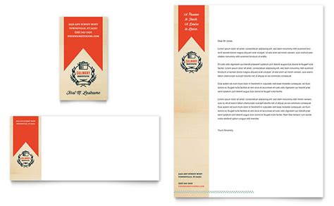 business card letterhead inspiration culinary arts school marketing with delicious designs