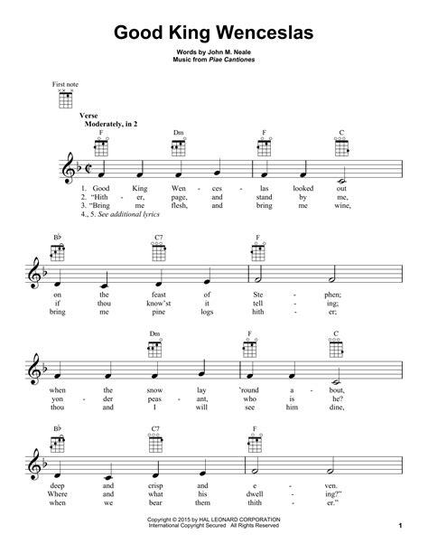 printable lyrics good king wenceslas good king wenceslas sheet music