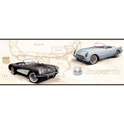 corvette wallpaper border york wallcoverings american classics corvette rte 66