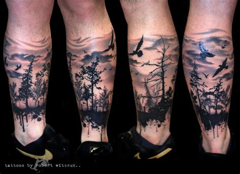 black and grey forest tattoo 12 forest tattoos on leg