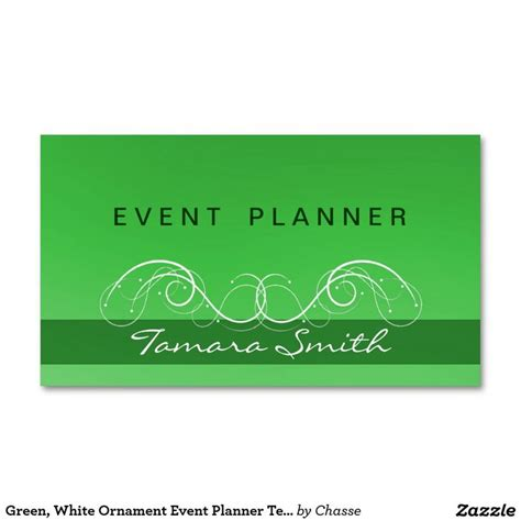 event planner business cards templates green white ornament event planner templates business