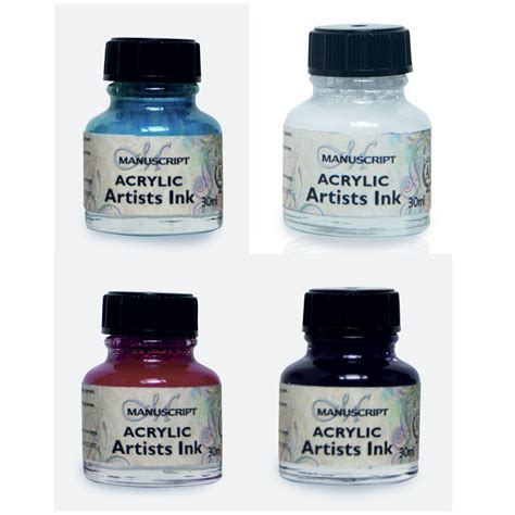 Manuscript Calligraphy Ink 30ml Pink manuscript calligraphy acrylic dip pen ink 4pc set turquoise white pink purple ebay