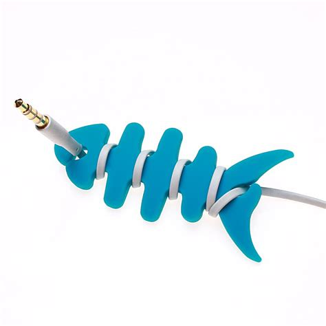 Diskon Xiaomimi Earphone Cable Holder Blue holder headphone earphone innovation earphone line winding silicone reel winder fish