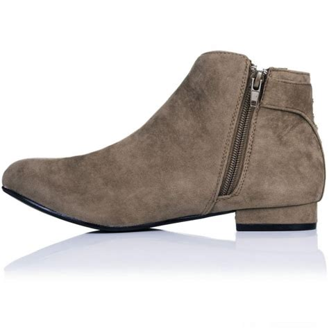 buy shirty flat buckle stud ankle boots taupe suede style