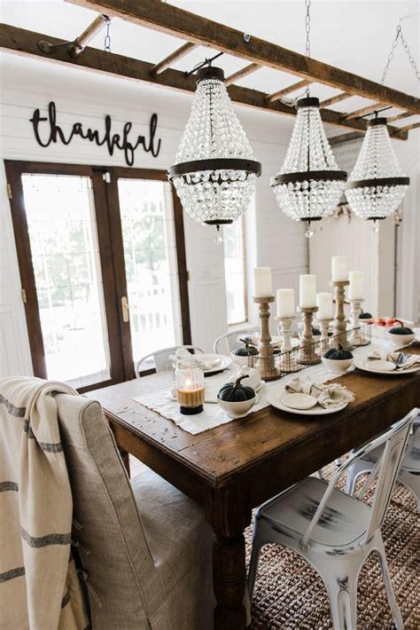 autumn farmhouse table simple neutral fall farmhouse dining room