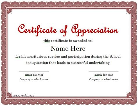 template certificate of appreciation certificate of appreciation template certificate templates