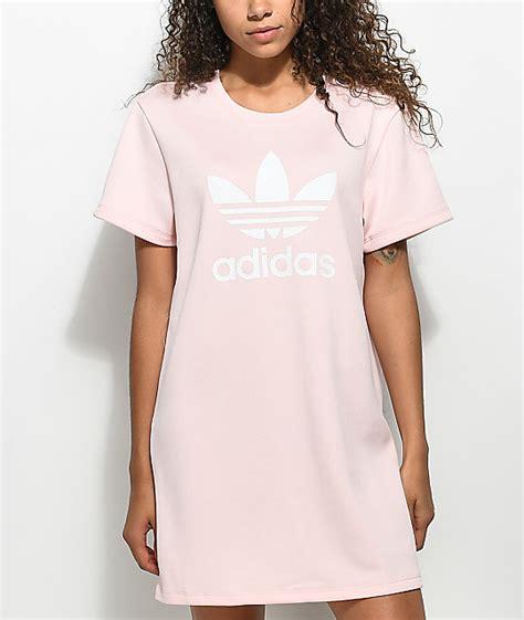 light pink t shirt dress adidas pale pink trefoil dress