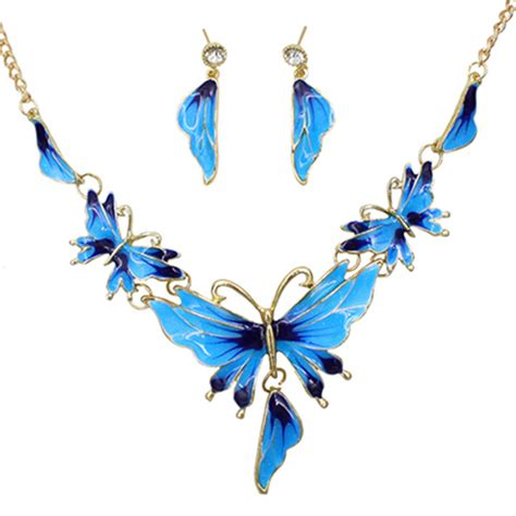 Choker Big Shining Choker splendid s alloy butterfly shaped choker chain necklace earrings shining jewelry set 51v5