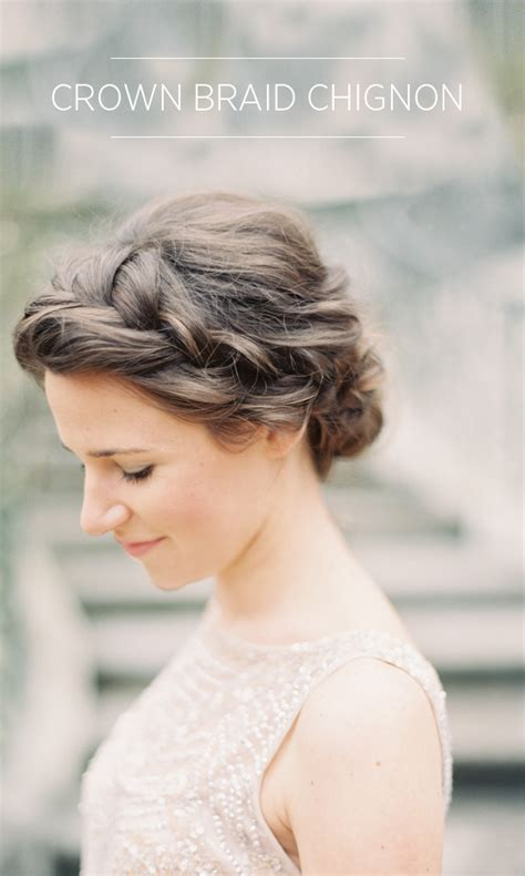 wedding hair braid crown braid chignon tutorial once wed