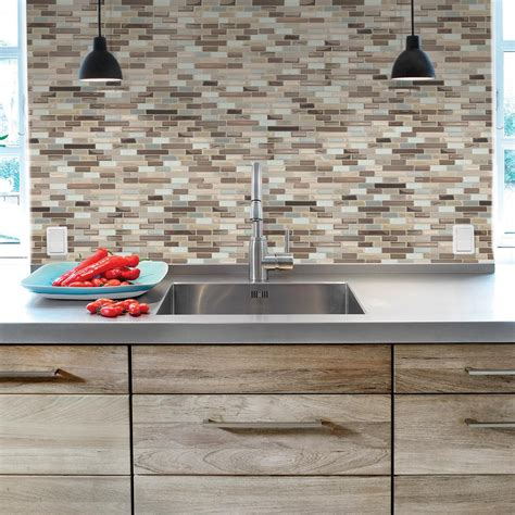 stick on kitchen backsplash tiles smart tiles muretto durango 10 20 in w x 9 10 in h peel