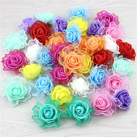 decorative flowers 20pieces foam lace rose artificial flower for wedding
