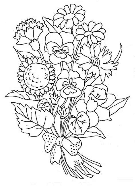 bouquet of flowers coloring pages for childrens printable