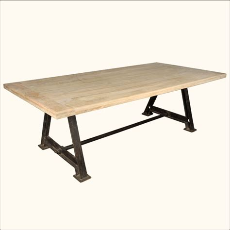 industrial dining room table rustic large dining room table industrial iron pedestal 95