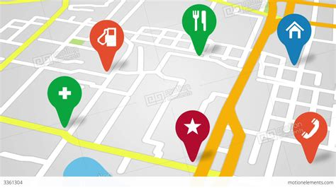 navigation city map and icons animation stock animation navigation city map and icons animation stock animation