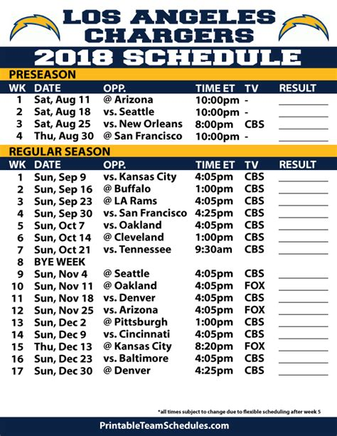 printable nfl schedule with logos 2018 printable los angeles chargers schedule