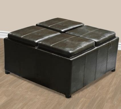 leather ottoman with tray brand brown leather ottoman with 4 tray tops storage