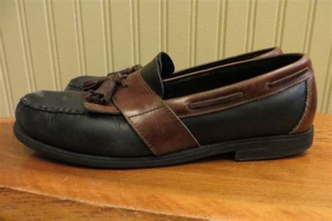 two tone tassel loafers mens sperry topside two tone black brown leather tassel