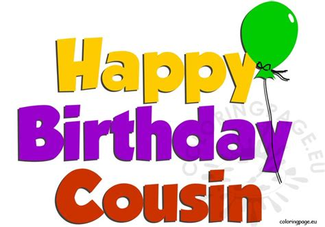 Happy Birthday Cousin Clipart birthday coloring page