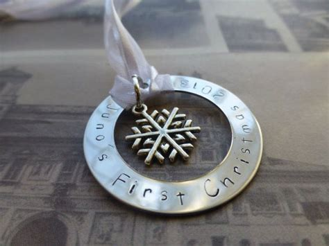 custom hand sted metal ornament baby s first christmas
