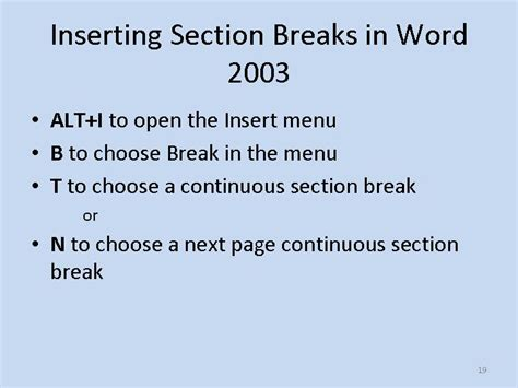 add section break in word slides and notes for