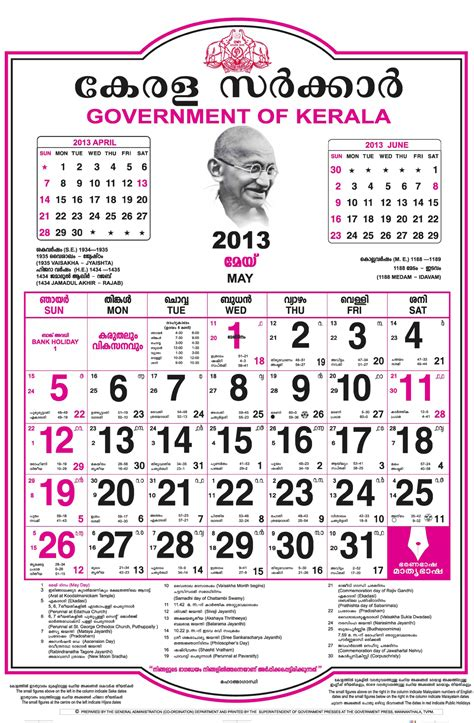 Malayalam Calendar Malayalam Calendar 2013 Kerala365