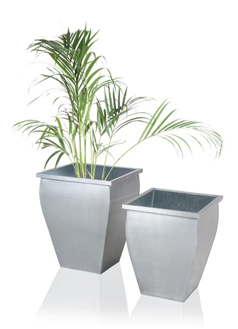Planters Zinc by Silver Flared Square Zinc Galvanised Planter H40cm