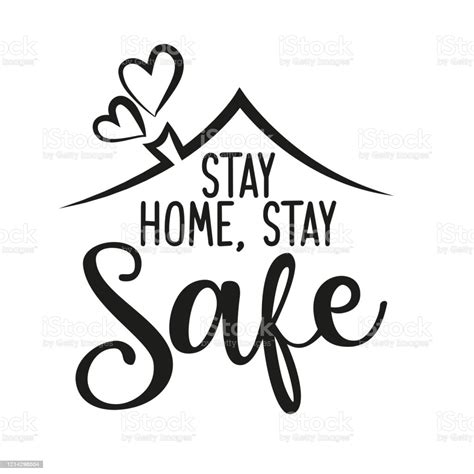 stay home stay safe lettering typography poster stock