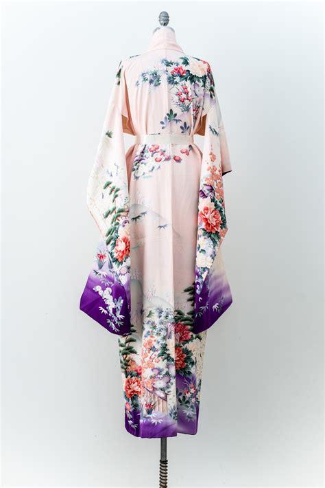 Pink Silk Kimono S M L Cardigan 43833 vintage silk pink and purple ombre floral kimono one