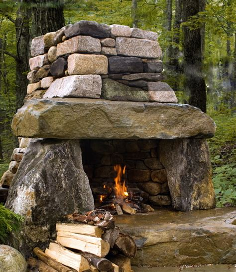 Outdoor Patio With Fireplace by Rustic Outdoor Fireplace