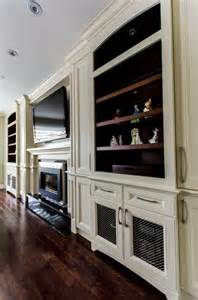 Cherry And White Kitchen Cabinets Fireplace Tv Wall Unit Traditional Living Room
