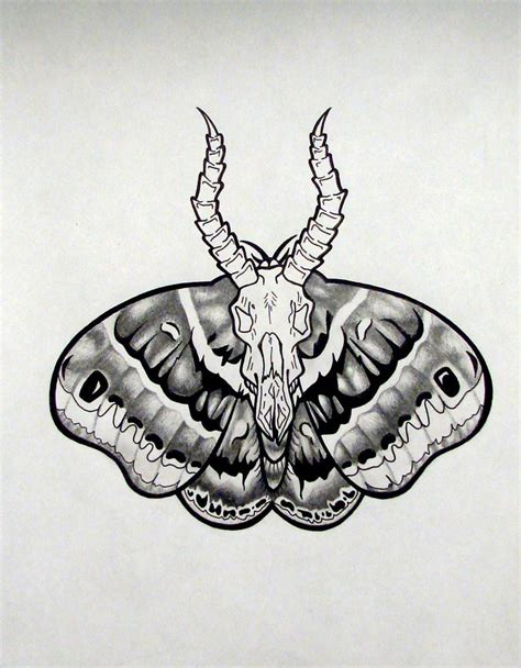 death moth tattoo grey moth design with white horned goat skull