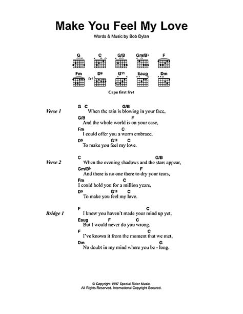 my lyrics with piano chords make you feel my sheet by bob lyrics