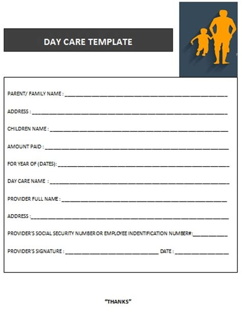 27 Day Care Invoice Template Collection Demplates Child Care Receipt Template Free