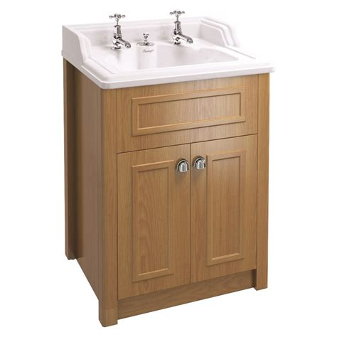 Wood Vanity Units by Burlington F1 Solid Wood Vanity Unit In Oak