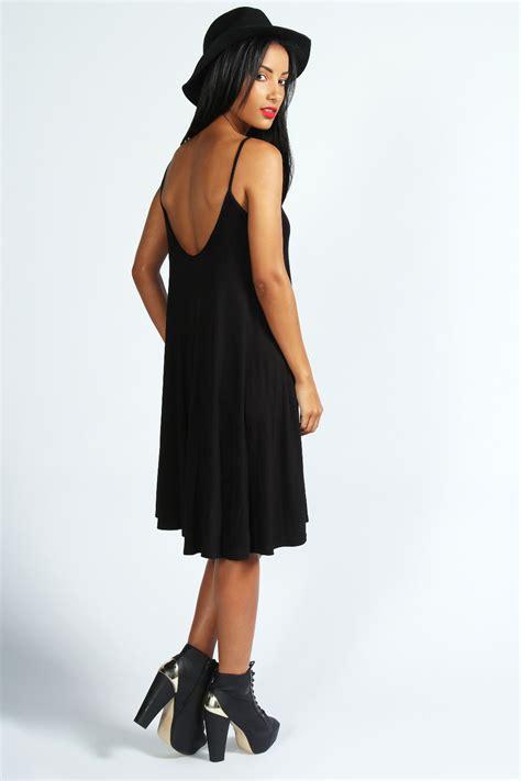 black strappy swing dress boohoo kelly strappy swing dress in black ebay