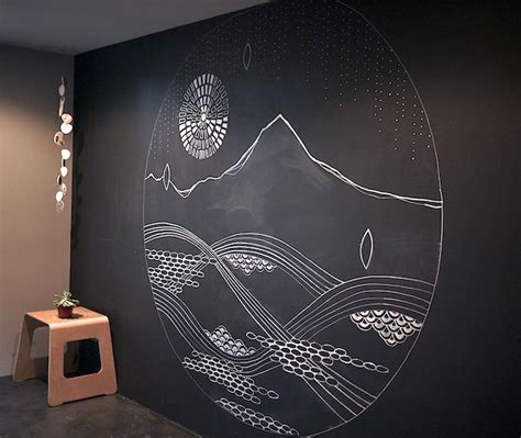 chalkboard wall decor cathy mcmurray prana instilation sketching out the