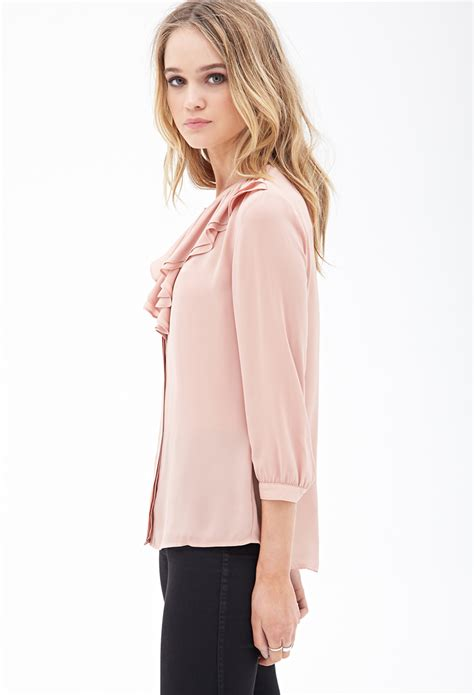 Forever21 Batik Blouse 1 forever 21 ruffled chiffon blouse in pink lyst