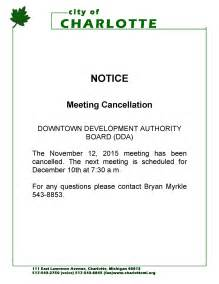 Notice Of Board Meeting Template by Notice Of Meeting Cancellation For The Downtown