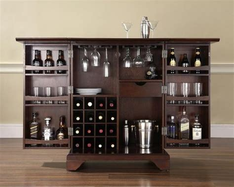 living room bar furniture expandable bar cabinet in vintage mahogany