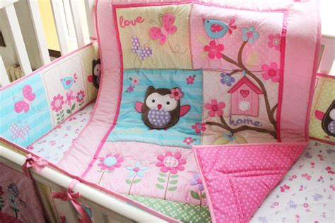 baby girl owl bedding spring and auturm cartoon animal applique embroidery pink owl baby quilt cotton quilt comforter